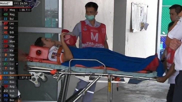 Gp Thailandia: caduta per Marquez, ma sarà in pista nelle seconde libere
