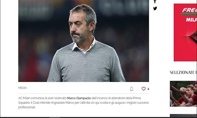 Ufficiale: il Milan esonera Marco Giampaolo