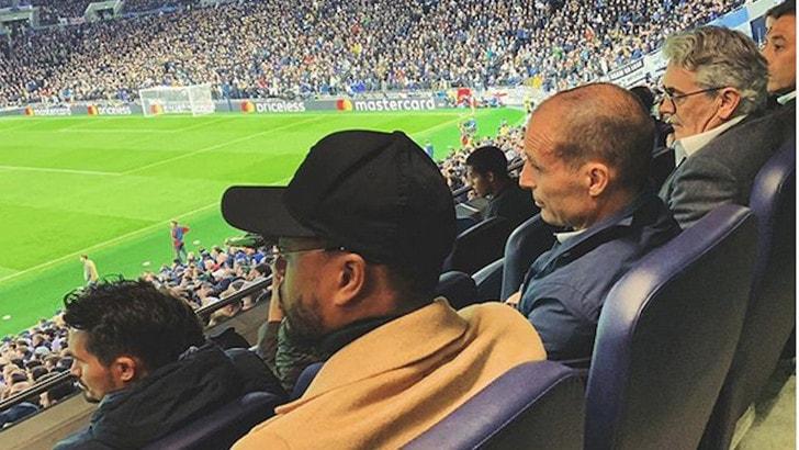 Allegri con Evra e Baldini allo stadio: futuro inglese per l'ex Juve?