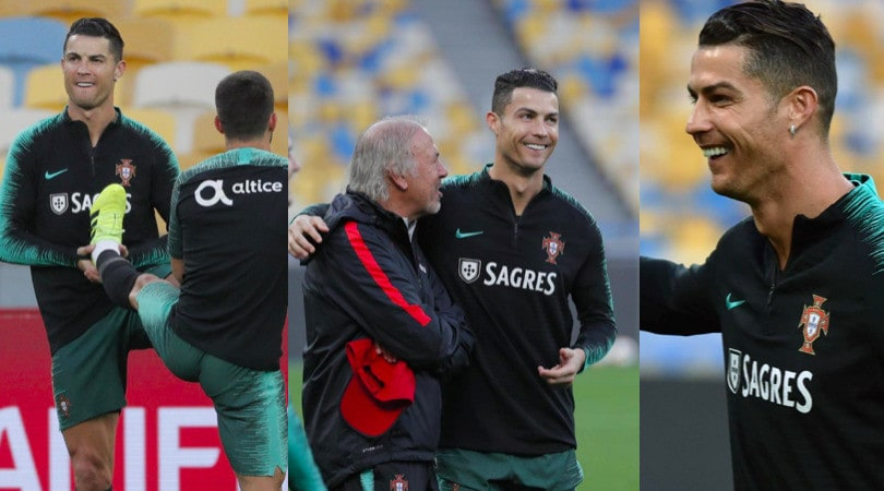 Cristiano Ronaldo, che sorrisi in allenamento con il Portogallo
