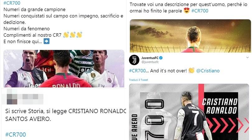 Ronaldo, 700 gol in carriera. I tifosi lo celebrano sul web