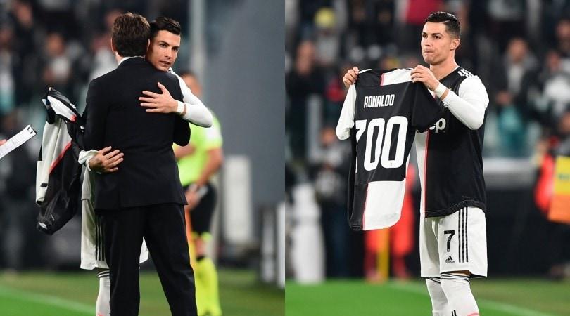 Agnelli celebra i 700 gol di Cristiano Ronaldo con una maglia speciale della Juve