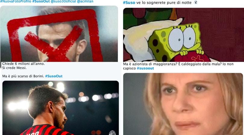 Tifosi del Milan infuriati sui social network: impazza l'hashtag #SusoOut