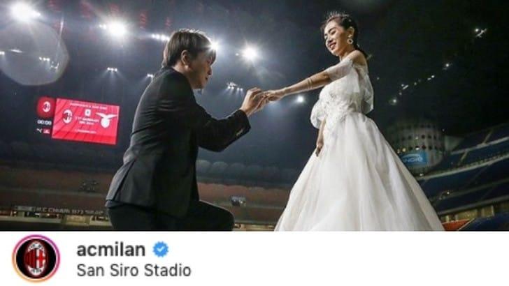 Milan, tifosi non gradiscono foto del matrimonio a San Siro