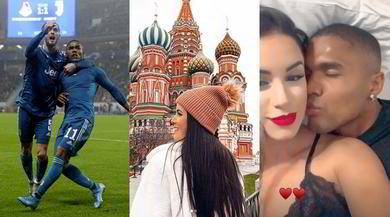 Douglas Costa e Nathália, bacio dopo il gol alla Lokomotiv