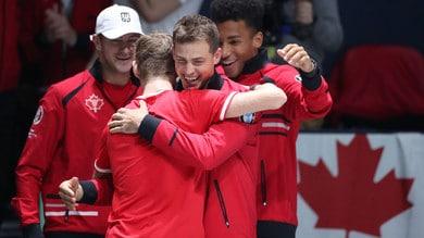 Coppa Davis, il Canada batte gli Stati Uniti e vola ai quarti. L'Italia spera ancora