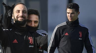 Juve, splende il sole alla Continassa: Higuain sorride, Ronaldo concentrato