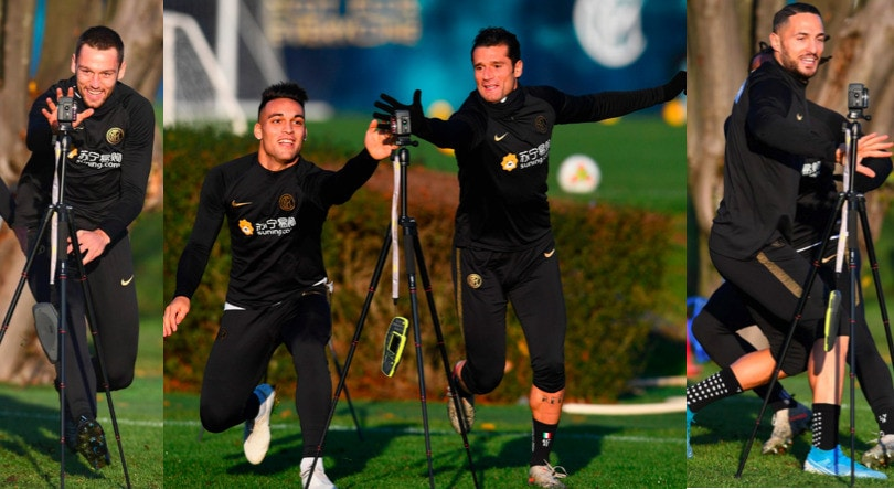 Inter, sorrisi e giochi in allenamento