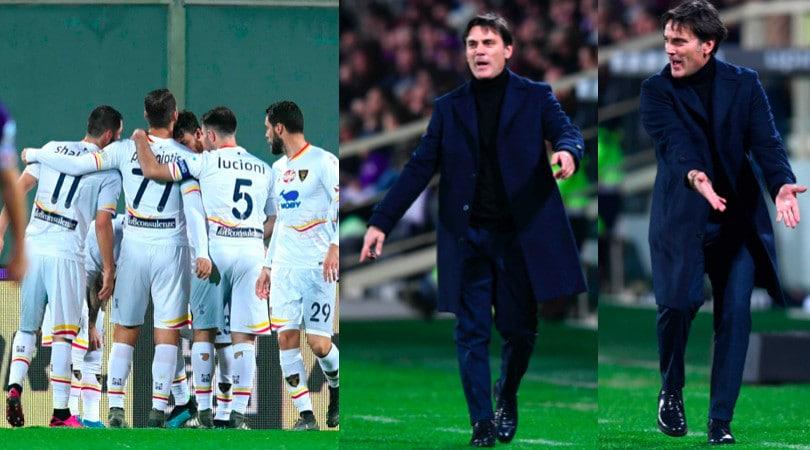 Fiorentina ko con il Lecce, Montella scatenato in panchina