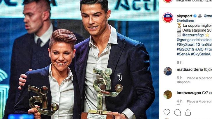 Manuela Giugliano con Cristiano Ronaldo: la coppia migliore. E in sintonia