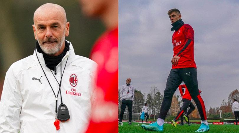 Allenamento Milan: la concentrazione di Piatek, Pioli osserva