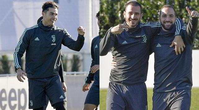 Juve, la rifinitura: Bonucci, Higuain e Ronaldo si caricano per il Leverkusen