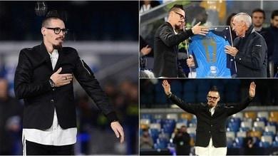 Champions, Reja premia un commosso Hamsik all'intervallo di Napoli-Genk