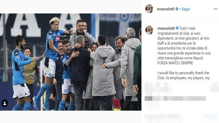 Ancelotti saluta Napoli: