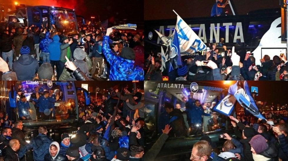 Ecco le immagini dei supporters bergamaschi, scatenati al rientro della squadra di Gasperini dopo la qualificazione agli ottavi di Champions League