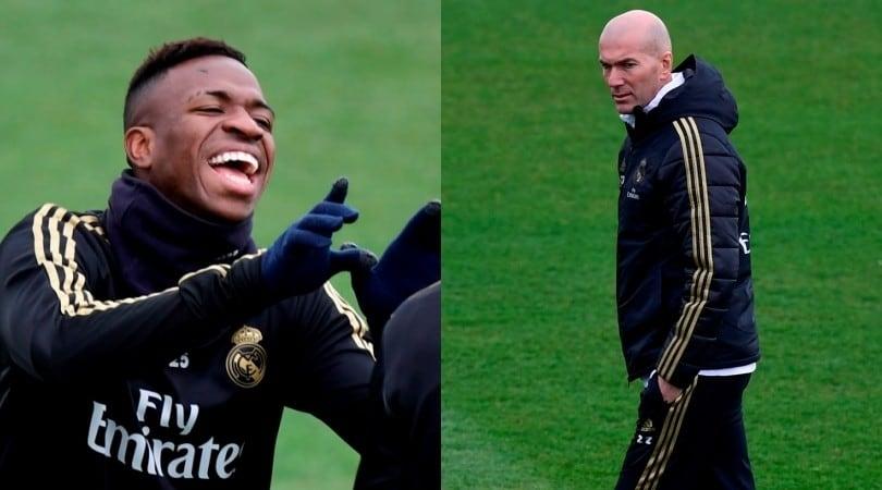 Real Madrid, vigilia del Clasico: Vinicius scherza con tutti, Zidane osserva
