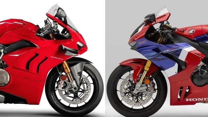 Honda CBR 1000 RR-R vs Ducati Panigale V4, potenze a confronto