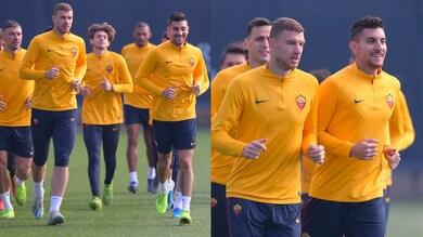 Roma, Dzeko e Pellegrini guidano il gruppo in allenamento