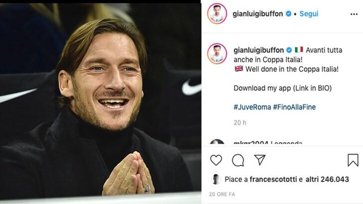 Totti, il like a Buffon fa infuriare i romanisti