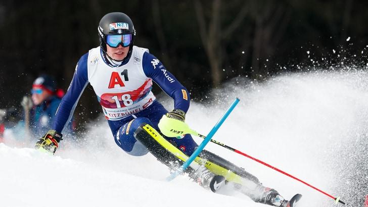 Slalom a Kitzbühel, Braathen in testa dopo la prima manche. Vinatzer sesto