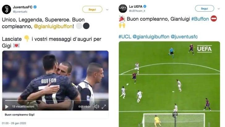 Buffon compie 42 anni: gli auguri di Juve e Uefa sui social
