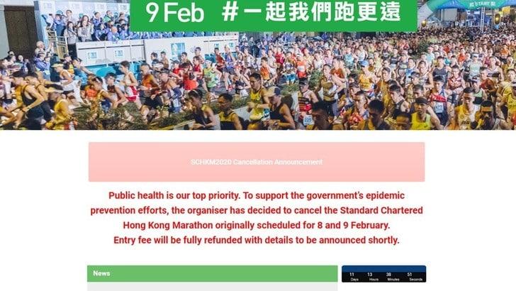 Annullata la Standard Chartered Hong Marathon del 9 febbraio