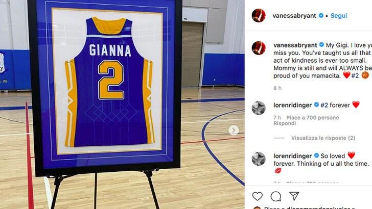 """Bryant, ritirata la maglia n.2 di Gianna. La mamma Vanessa: """"Orgogliosa di te"""""""