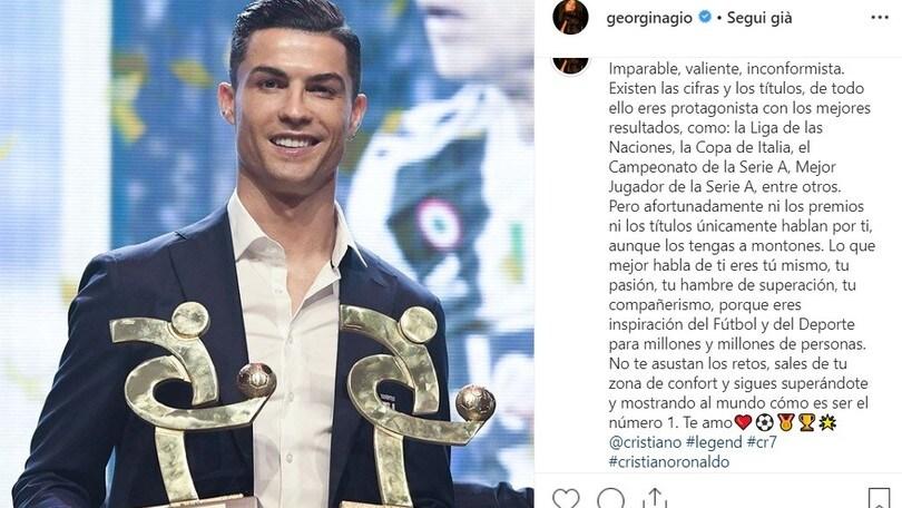 """Juve, Cristiano Ronaldo e la dedica di Maria Dolores e Georgina: """"Tu sei il calcio"""""""