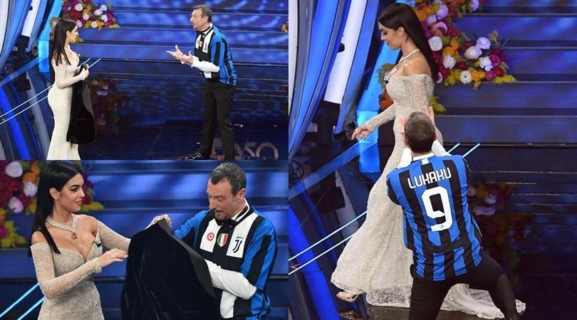 Georgina punzecchia Amadeus, è Juve-Inter sul palco di Sanremo