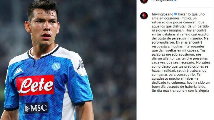 Napoli, Lozano scrive sui social:
