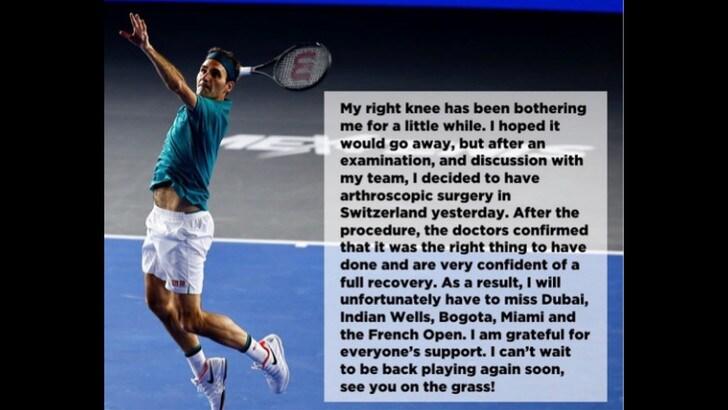 Federer salta il Roland Garros: si è operato al ginocchio