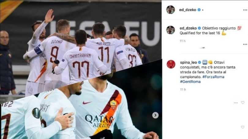 Da Dzeko a Spinazzola, la Roma fa festa per l'accesso agli ottavi di Europa League