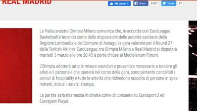 Eurolega: Forum vuoto, Milano-Real Madrid a porte chiuse
