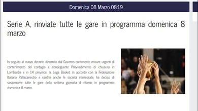 Basket, stop a tutte le partite di Serie A
