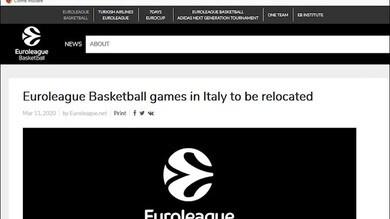 Eurolega, fino all'11 aprile niente più match in Italia
