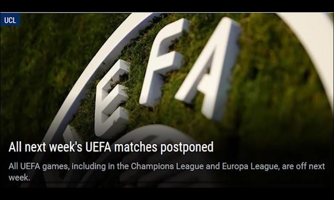Ufficiale: stop a Champions ed Europa League