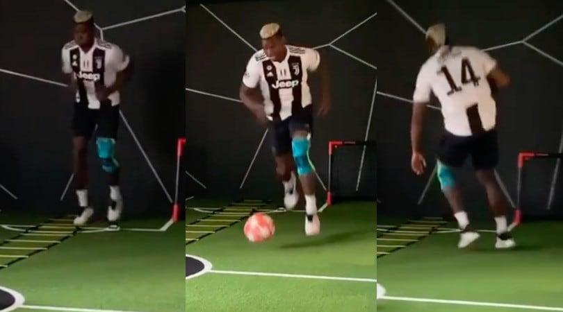 Pogba si allena con la maglia della Juve