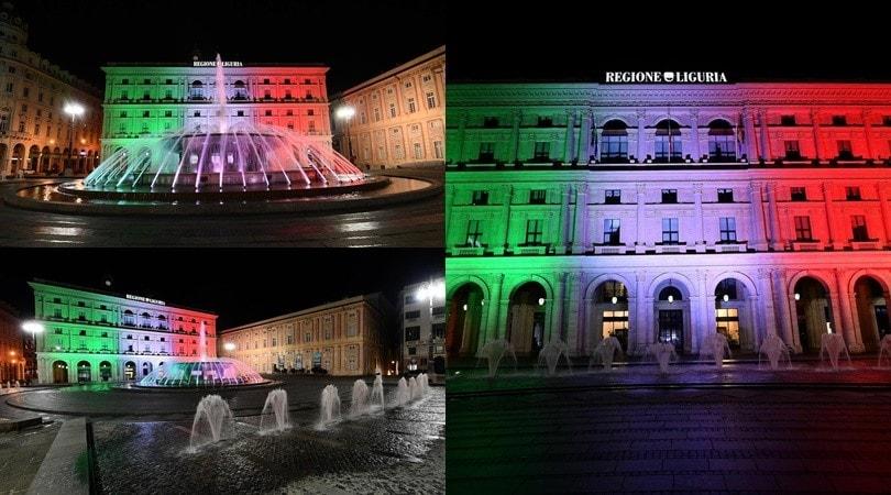 Coronavirus, il tricolore italiano illumina il palazzo della Regione Liguria