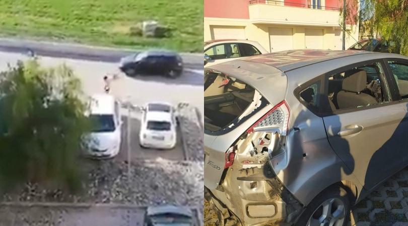 Coronavirus, uomo ripreso dalla vicina le distrugge l'auto a mazzate VIDEO
