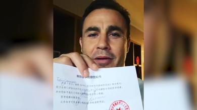 Cannavaro, messaggio di speranza dalla Cina
