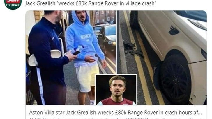 Grealish invita i tifosi a stare a casa, poi passa la notte in un locale e danneggia l'auto di lusso