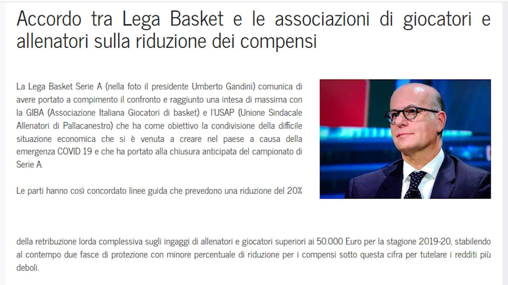 Accordo Lega Basket-giocatori: stipendi tagliati del 20%