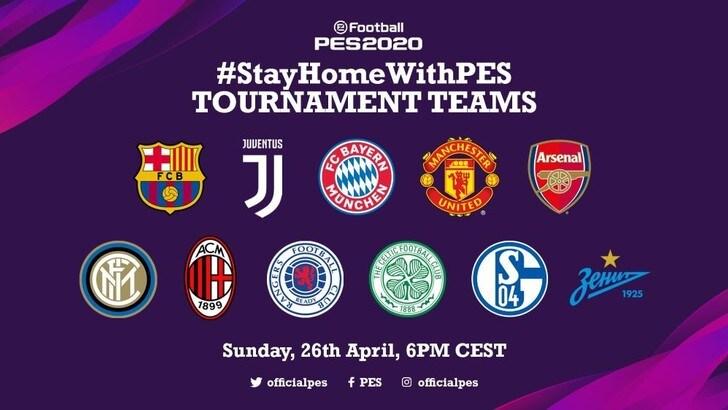 eFootball PES 2020: i giocatori dei club internazionali si sfideranno nel torneo #StayHomeWithPES