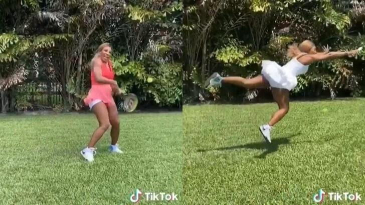 Serena Williams show: batte se stessa nel giardino di casa