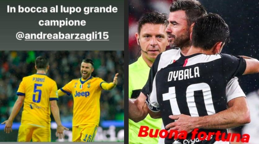 """Da Dybala a Pjanic, i saluti social a Barzagli: """"Buona fortuna campione"""""""
