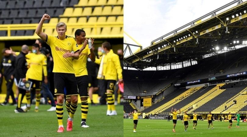 La strana festa del Borussia Dortmund: Haaland e compagni sotto la curva vuota