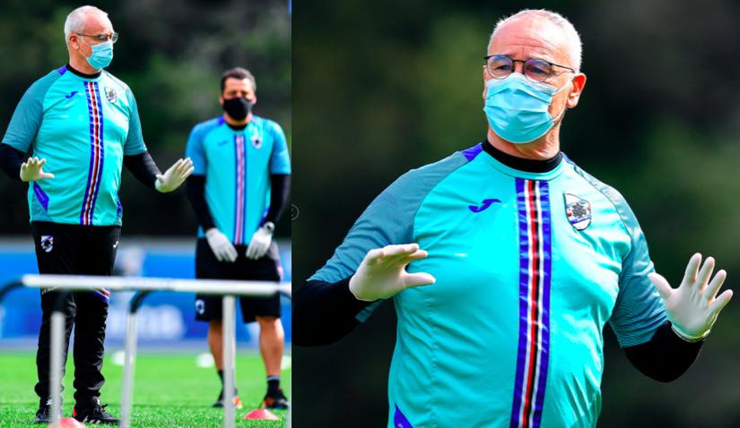 Sampdoria, Ranieri guida l'allenamento con guanti e mascherina