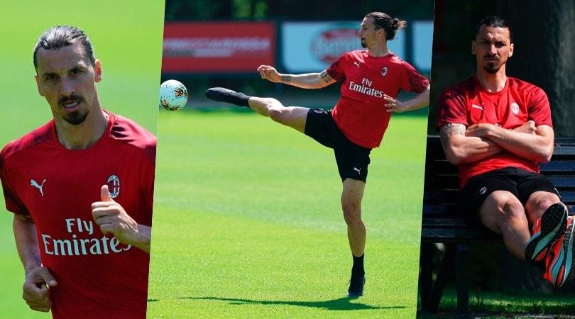 Milan, l'allenamento di Ibrahimovic: dai colpi di karate al relax in panchina