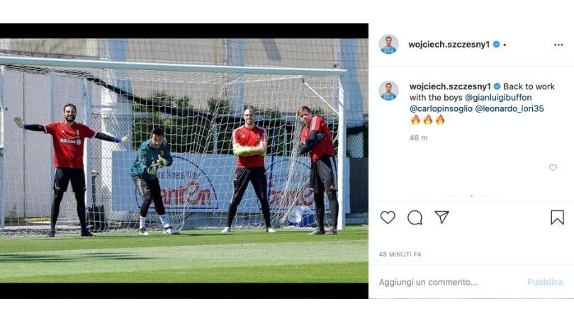 """Juve, Szczesny torna alla Continassa: """"Di nuovo a lavoro con i ragazzi"""""""