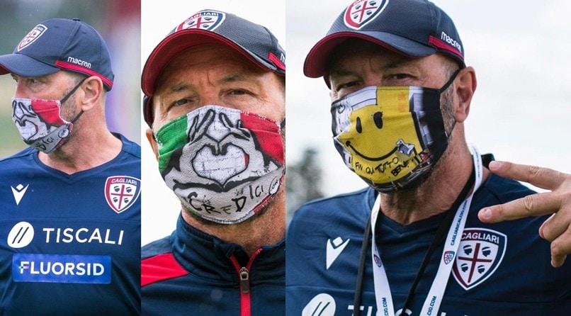 Cagliari, Zenga mostra delle mascherine particolari